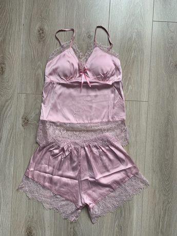 Różowa satynowa piżama r. 36S/38M