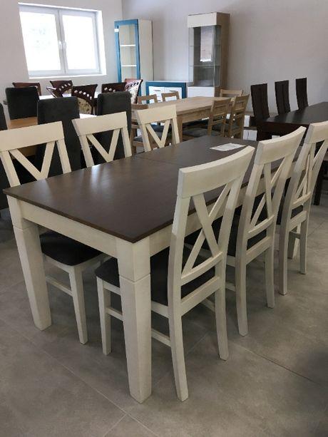 Komplet stołowy: stół i 6 krzeseł, 80x160cm, rozkładany, popielaty