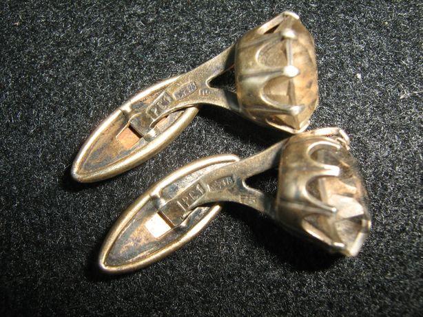 мужские запонки 875проба спозолотой камень горный хрусталь 10грамм