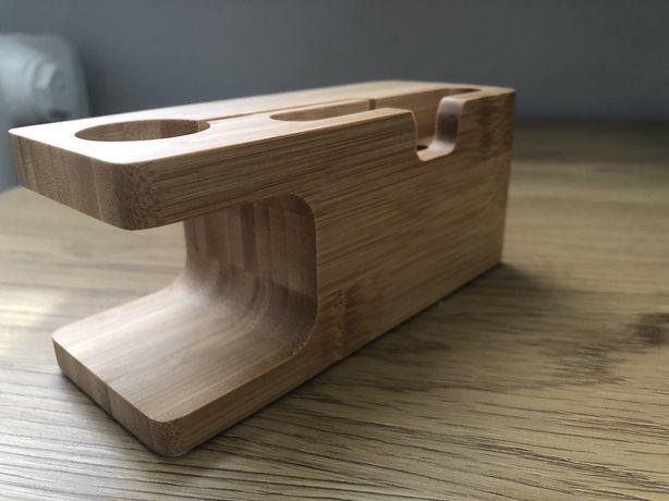 Stacja dokująca drewniana na iphone apple watch nowa