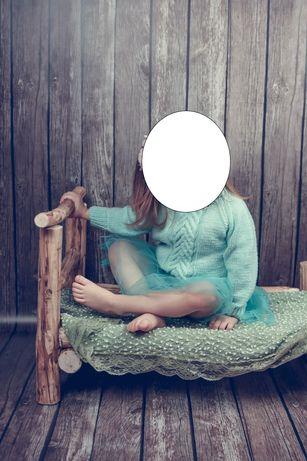 Drewniane łóżeczko do sesji fotograficznych