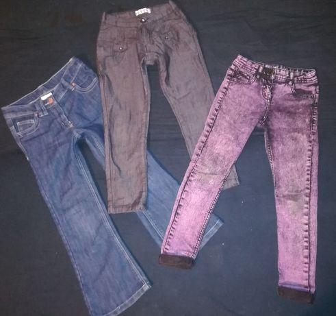 3 pary spodni jeansy rurki przedszkole szkoła 128cm F&F Next 6-7lat