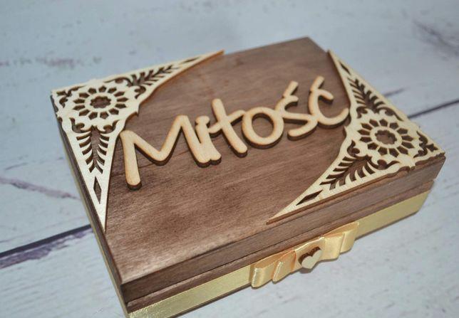 Pudełko na obrączki, pudełko szkatułka kuferek na koperty ślub wesele
