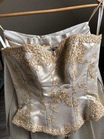 Złota suknia Studniówka Ślub rozmiar 36