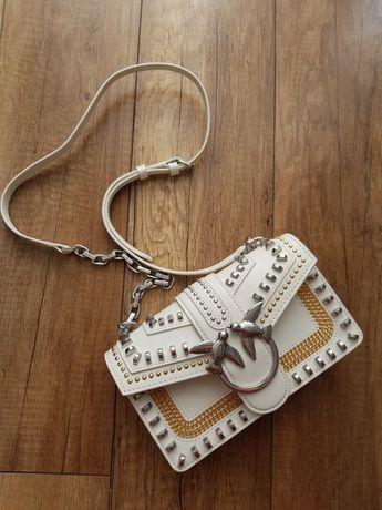 Biała torebka Pinko love mini mix studs vintage