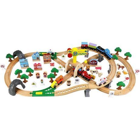 Іграшкова дерев'яна дорога, EDWONE, 110 деталей , 3+ (BRIO, IKEA)