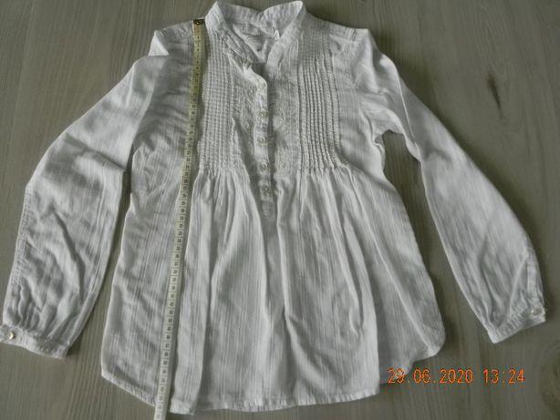 bluzka h&m biała galowa do szkoły roz.134
