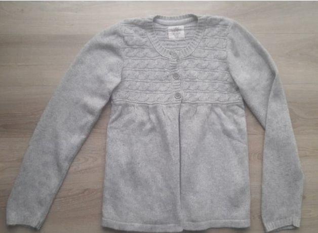 Sweter H&M LOGG 146/152 szary warkocze guziki