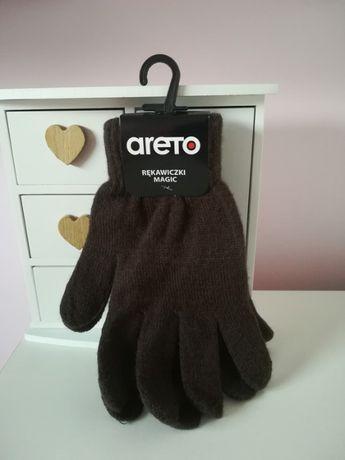 Rękawiczki damskie męskie brązowe nowe z metką
