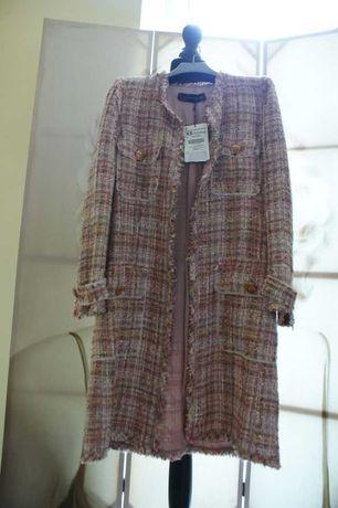 Płaszcz Zara, płaszczyk różowy, tweed XS-34 NOWY w stylu Chanel