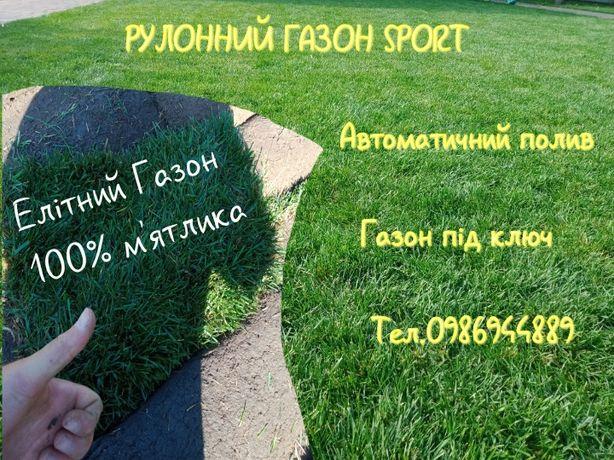 АКЦiЯ..Рулонний газон спорт 100% мятлик.Елiтний сорт