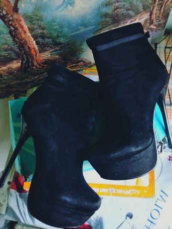 Обувь 37-37размер , замш, полусапожки