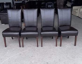 Krzesła zestaw krzeseł 4 sztuki brąz skóra naturalna