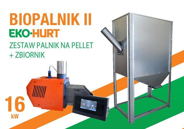 BIOPALNIK II i kosz zasypowy do pelletu - 16 kW palnik, zasobnik