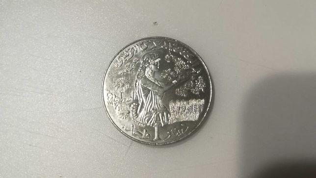 Moneta 1 dinar Tunezja 2007 rok bardzo ładna.