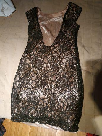 Sukienka złoto czarna na imprezę.