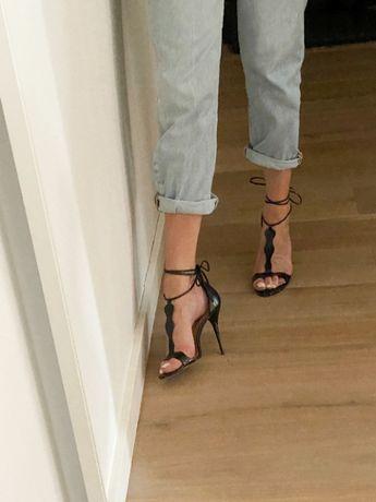 KAZAR skórzane szpilki sandałki 37 czarne