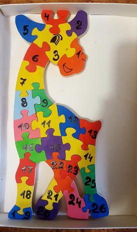 Деревянные 3D пазлы ручной работы цвет цифры англ. алфавит развивающие