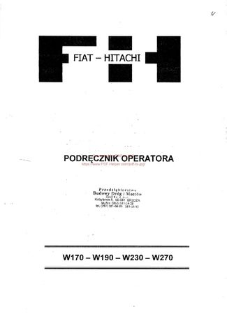 Podręcznik operatora Fiat Hitachi W170, W190, W230, W270