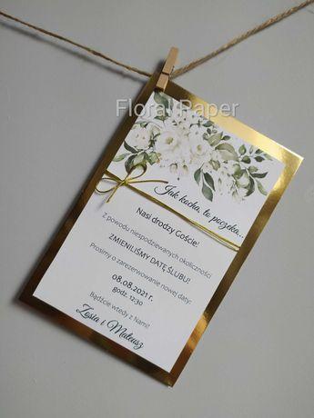 Zaproszenia na przełożony ślub i wesele