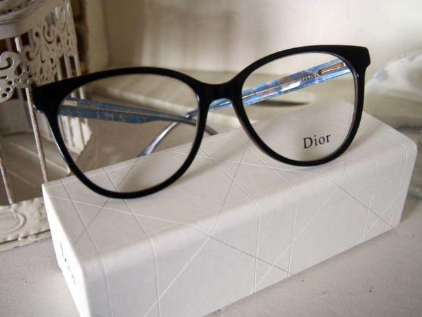 Dior niebieskie damskie oprawki zerówki marmurki okulary