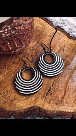 Kolczyki handmade czarno białe