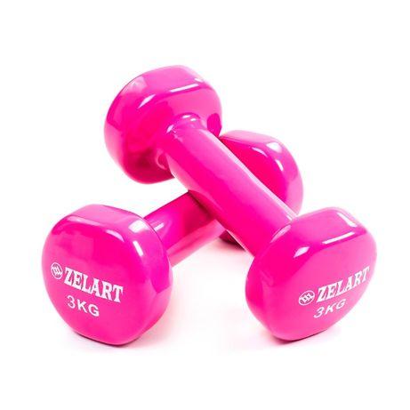 Гантели для фитнеса Zelart с виниловым покрытием 0,5 1, 2, 3, 4кг