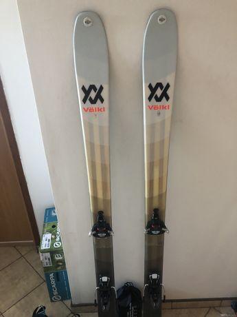 Zestaw skiturowy, narty 163 cm, wiązania i foki