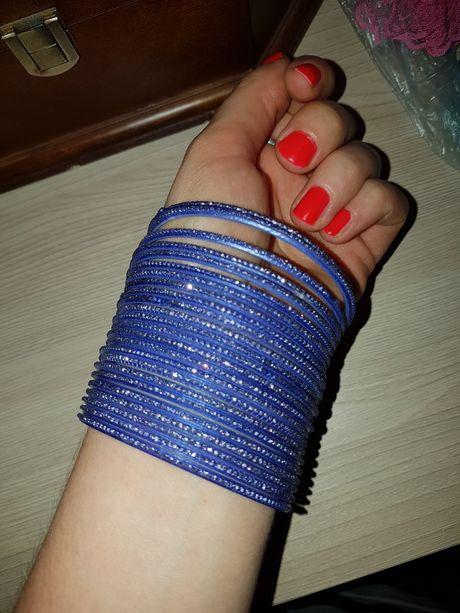 Браслет браслеты комплект синий с блестками