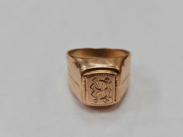 Klasyczny złoty sygnet męski/ Radzieckie 583/ Lite złoto/ 9.92 g/ R26