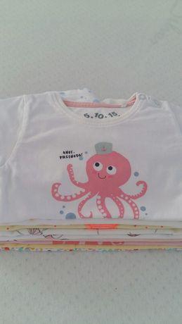 Zestaw koszulki,t-shirty,rampersy roz 68 dziewczynka