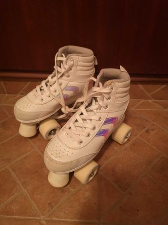 Patins patinagem de menina 4 rodas número 34 Brancos