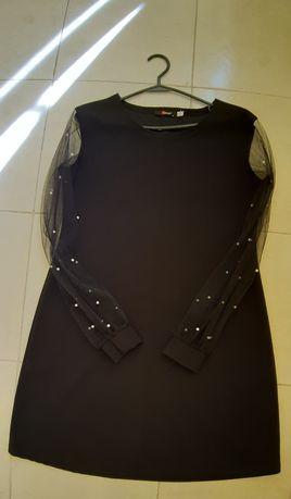 Черное платье с шифоновыми рукавами.  Размер: 46-48