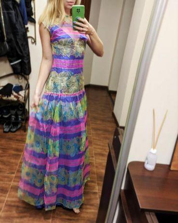 Винтажное дизайнерское шёлковое платье