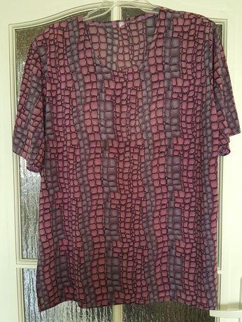 BLUZKA damska na lato, duży rozmiar, bluzeczka fioletowa we wzory