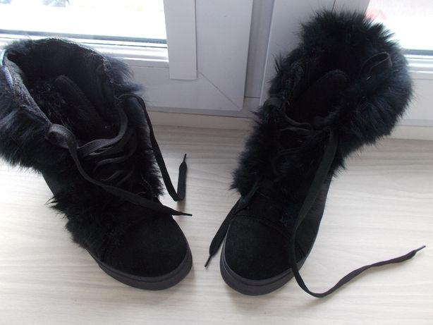 Sneakersy botki na koturnie czarne