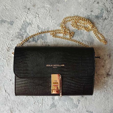 Чёрная кожаная сумка Viola Castellani, клатч на цепочке,вечерняя сумка