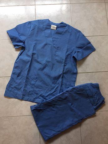 Pijama cirúrgico azul farda enfermeira médico auxiliar NOVO saúde