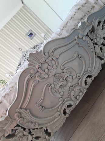 Łóżko stylowej GLAMOUR Drewno egzotyczne Srebrne