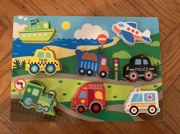 Puzzle de madeira - veículos