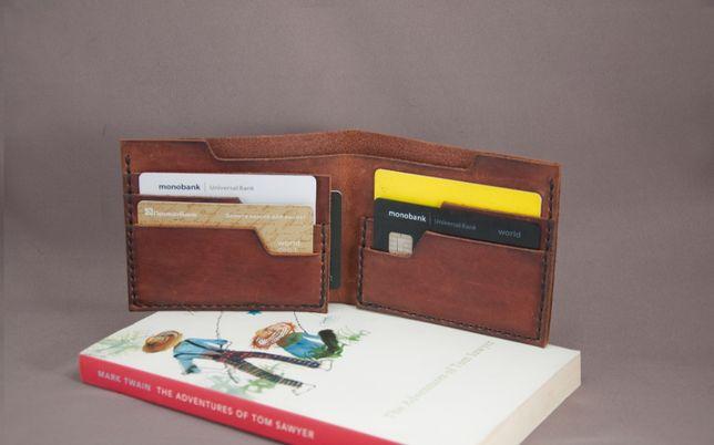 Кожаный портмоне кошелек ручной работы