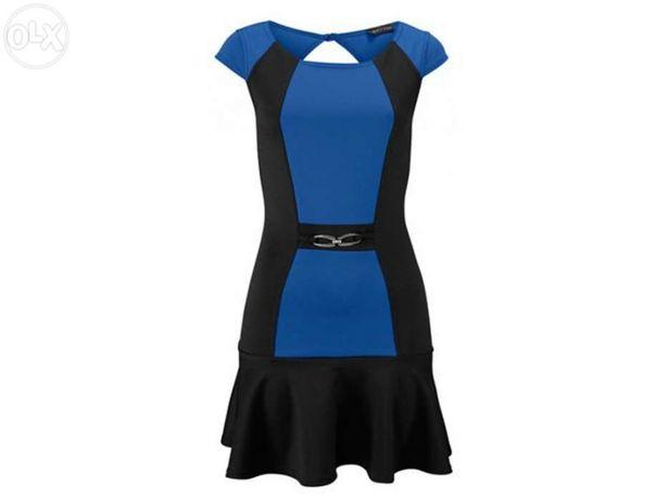 Vestido marca Melrose preto e azul tamanho 38 novo nunca usado