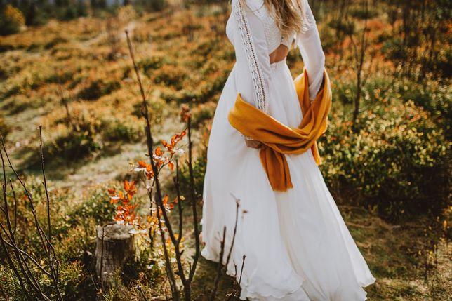 Suknia ślubna BOHO, RUSTYKALNA, rozm. 36