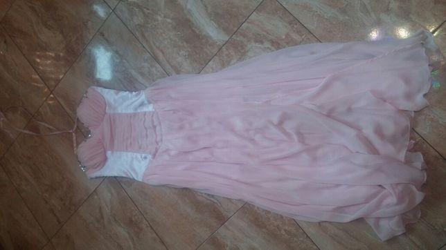 Długa wieczorowa różowa sukienka roz.s
