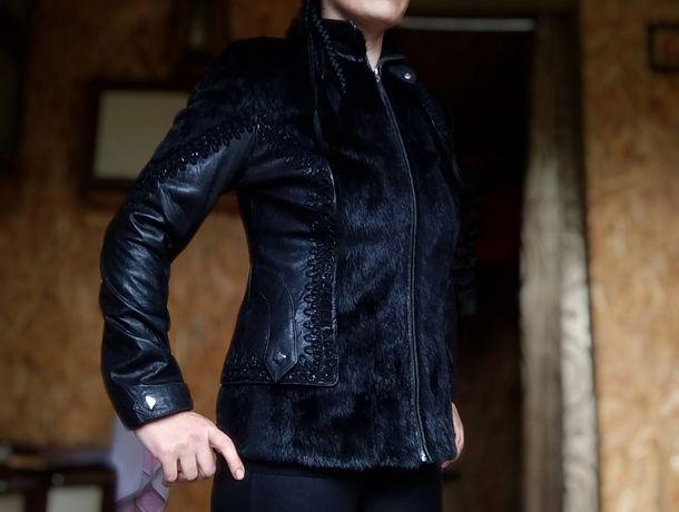 Куртка шкіряна з хутром осінь весна