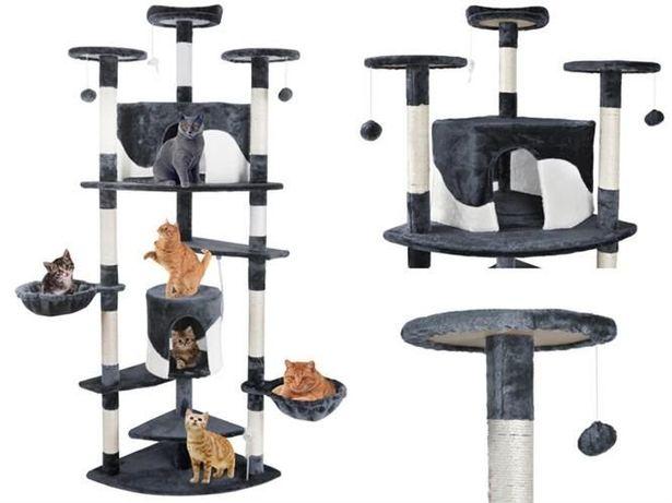 Wielki drapak dla kota z zabawkami Drzewko dla kota 200cm szaro-białe