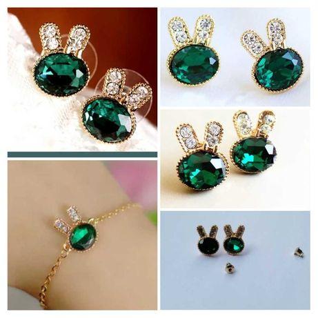 kolczyki i bransoletka króliczki nowe! biżuteria na różne okazje