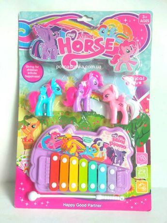 Ксилофон My little pony + 3 шт пони,детский музыкальный ксилофон,бубен