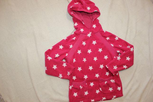 Кофта толстовка флиска на 5-6 лет девочке розовая звезды