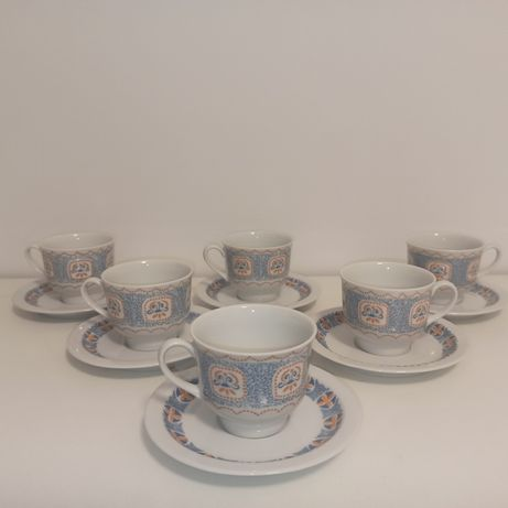 Porcelana Wawel filiżanki ( kubki) talerzyki zestaw Kawowy PRL